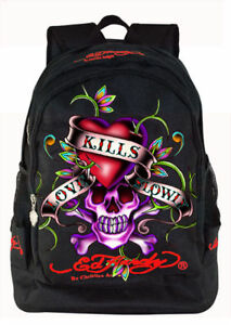 ED-HARDY-BRUCE-LOVE-KILLS-SLOWLY-BLACK-BACKPACK-L-RARE