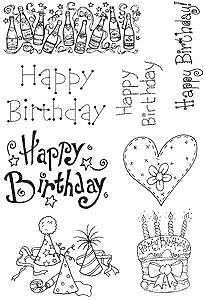 HAPPY BIRTHDAY 8 New Unmounted Clear Stamps Text Cake Heart Bottles Party Hats