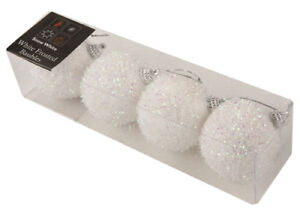 4-Pack-Of-7cm-White-Frosted-Christmas-Glitter-Baubles-PM187
