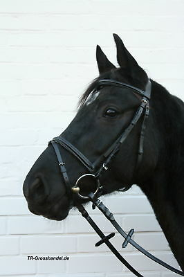 Trense Pony, Trensenzaum mit Zügeln, schwarz, NEU Ledertrense, Gurtzügel