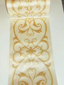 5 Mtischband Tischdeko 20 Cm Breit Creme Gold Ebay
