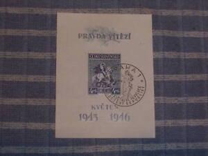 1946-Czechoslovakia-Souvenir-Sheet-Slovakia-Stamped-Cancelled-Czech-St-George
