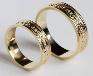 Irish-14kt-Gold-Claddagh-Celtic-Wedding-Band-Ring-Set