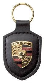 Porsche-Key-Chain-Black-Crest-Key-Ring-Genuine-Porsche