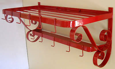 POT PAN RACK SPICE RACK SHELF RETRO RED VINTAGE KITCHEN DECOR WALL MOUNT METAL