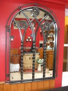 Gothic arched mirror church style mirror wrought iron for Church style mirrors