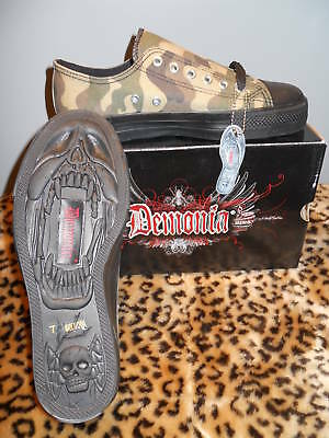 Demonia Devil Army Woodland Camouflage Low Top Sneaker Shoes Punk Vegan 12