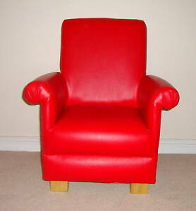 Red-Faux-Leather-Childs-Chair-Armchair-Bedroom-Nursery