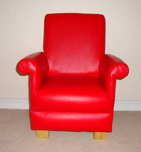 Red-Faux-Leather-Child-039-s-Chair-Armchair-Bedroom-Nursery