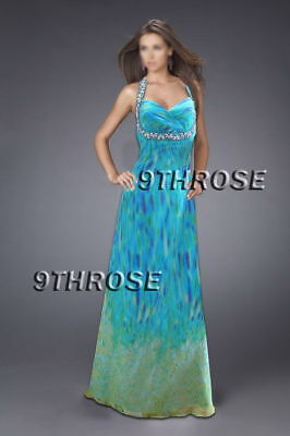 Very Tempting Broad Beaded Strapped Blue Formal/evening/prom Long Gown Au18us16
