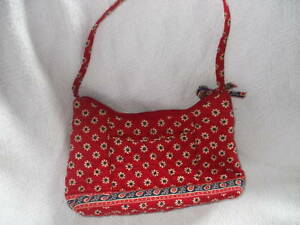 Vera Bradley Red Yellow Blue Flower Quilted Handbag Purse