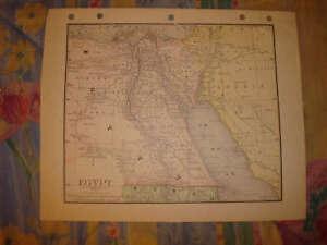 ANTIQUE-EGYPT-COLOR-MAP-CAIRO-SUPERB-DETAILED-RARE-NR