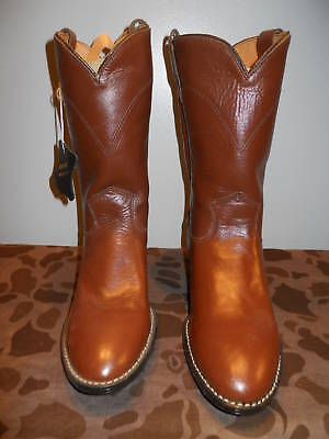 Deadstock Brown Tan Western Roper Cowboy Boots Riding Youth Boys Tween 4.5