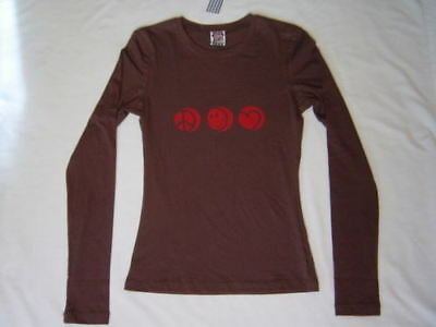 Scanty Brown Peace Smiley Heart Logo T Shirt Top S