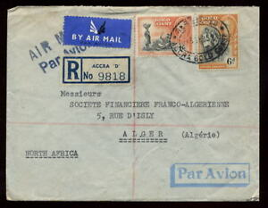 GOLD COAST 1951 AIRMAIL REGISTERED COVER to ALGERIA
