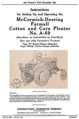 Mccormick Deering Model A69 Cotton Corn Planters Operators Manual Mc-d 4801