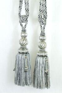 A Pair of Big Gray Tie Back Drapery Tassel Triple head