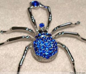 Wholesale-12-Pcs-blue-spider-Crystal-Rhinestone-Brooches-fashion-drop-shipping
