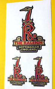 RALEIGH-Vintage-style-Cycle-Bike-GOLD-Decals-Stickers