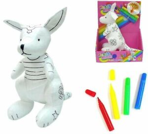 COLOR /& WASH STUFFED KANGAROO coloring kids crafts toys PAINTABLE DRAW ON TOY