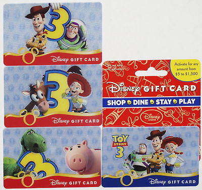 4 Disney & Pixar Toy Story 3 Lenticular Gift Cards 2010