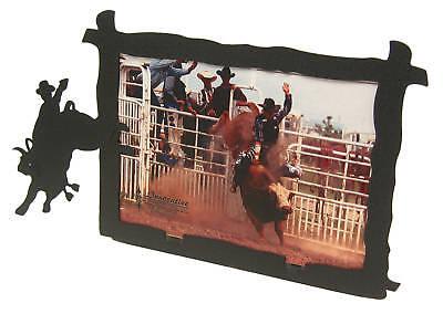 Bull Riding 5x7 Horizontal Black Metal Picture Frame