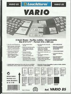 LIGHTHOUSE VARIO 8 STRIP STAMP ALBUM STOCK SHEETS BLACK Pack of 15 Strips 29mm