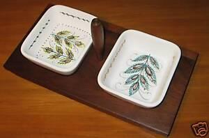 Denby-Pottery-Serving-Set-Dish-Inserts-Handle-Wood-Relish-Tray-Danish-Modern-AT