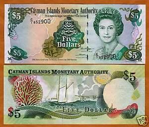 Cayman Islands, $5, 2005, P-34a, QEII UNC