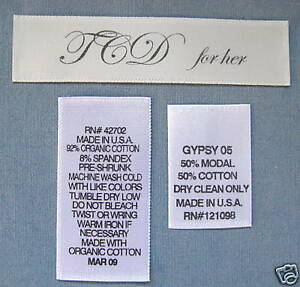 1000 pieces custom printed care tags clothing labels ebay for Clothing identification labels
