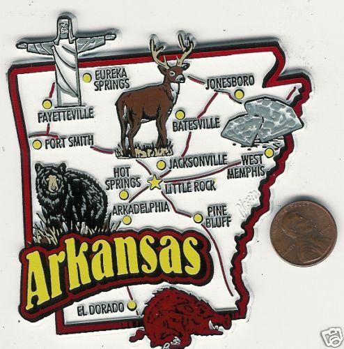 ARKANSAS  STATE  MAP  JUMBO TOURIST MAGNET  7 COLOR  - LITTLE ROCK  FT SMITH
