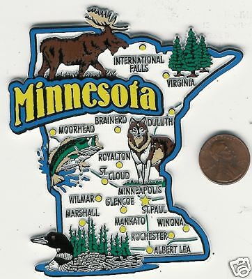 MINNESOTA  STATE  MAP JUMBO  TOURIST MAGNET 7 COLOR MINNEAPOLIS ST PAUL WINONA
