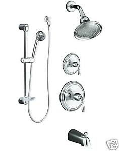 details about kohler chrome bath tub shower faucet set with handshower