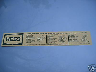 Hess 1964 TANKER TRUCK  BATTERY INSTRUCTION CARD