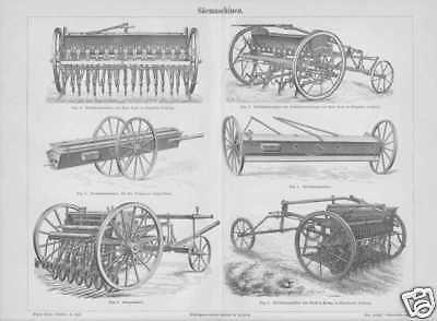 Sämaschinen Drillsaat Reihensaat HOLZSTICH von 1888 Getreidedrill Säemaschine