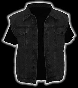 Jeansweste-Modell-034-Eddie-034-Black-Denim-Groesse-L-schwarz