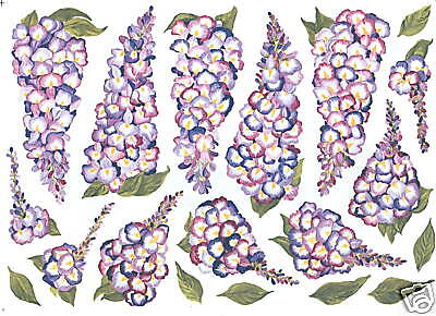 WISTERIA FLOWERS PURPLE CREATIVE WALL ART TRANSFER DECOR WALL DECOR TATOUAGE