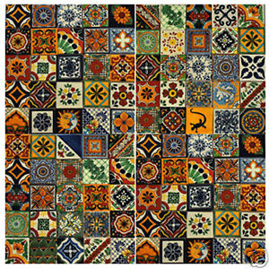 100-Mexican-Talavera-TILES-Different-Patterns-4x4-034-Clay