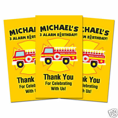 10 Fireman Firefighter Fire Truck Birthday Party Personalized Thank You Tags - Firetruck Party Supplies
