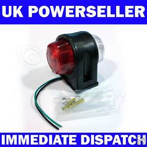 Trailer Mudguard Red White Side Outer Marker Light x 1