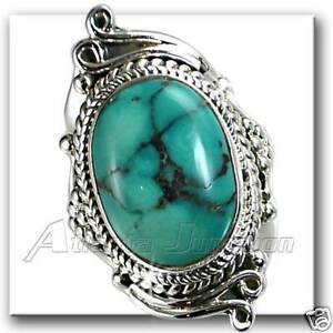 TURQUOISE-UNIQUE-SWIRL-HAND-TOOLED-RING-SZ-6-SILVER-NF