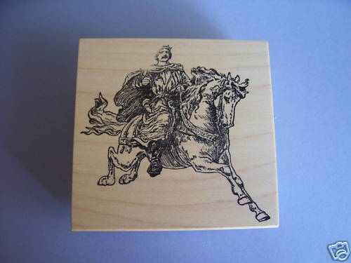 100 Proof Press Rubber Stamps Mounted Falconer Horse Stamp