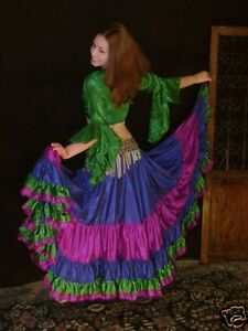 We3 Belly Dance Gypsy Tribal  32 Yd Skirt &Top