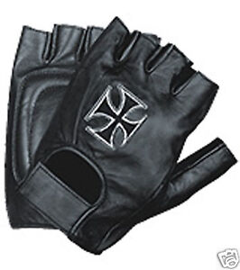 LEATHER FINGERLESS RIDING GLOVES W/ CHOPPER CROSS LARGE