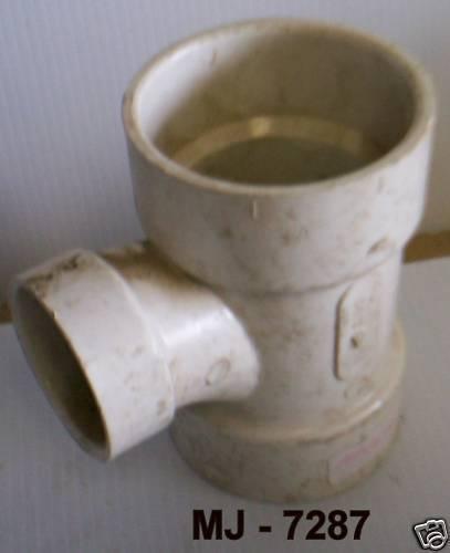 """Sanitary Tee – 3"""" hub x 3"""" hub x 2"""" hub PVC-1 - P/N: 2130 (NOS)"""