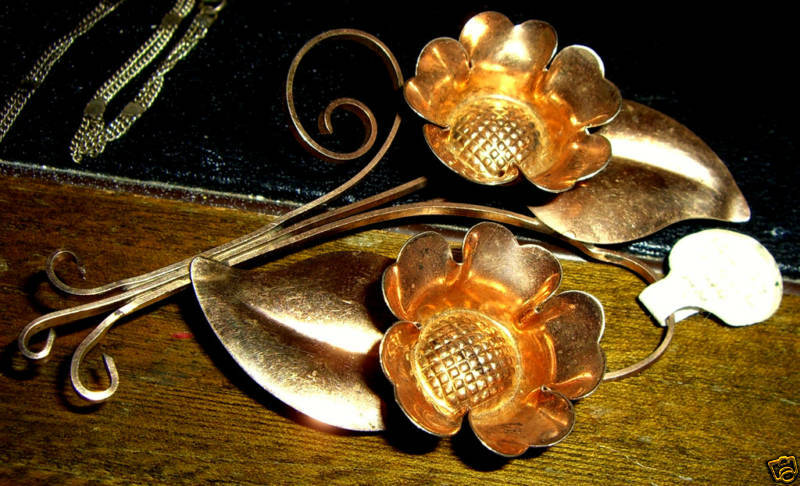 "Vintage Truart Gold Washed Sterling Silver Brooch 2""x3"""