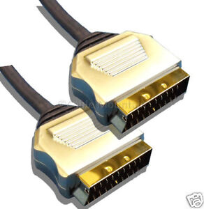 0.5m Metal Plug OFC Gold Plated Scart Cable Lead ½ m