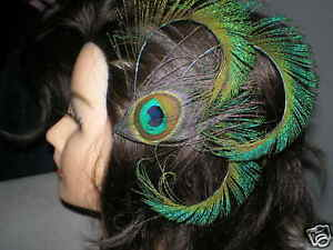 PEACOCK-FEATHER-HAIR-CLIP-FASCINATOR-BARRETTE