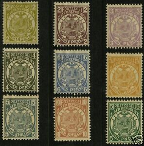 Transvaal-1885-93-Scott-125-135-MLH-Part-Set