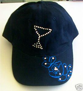 Martini-Bikini-Rhinestone-Crystal-Flower-Cap-Hat
